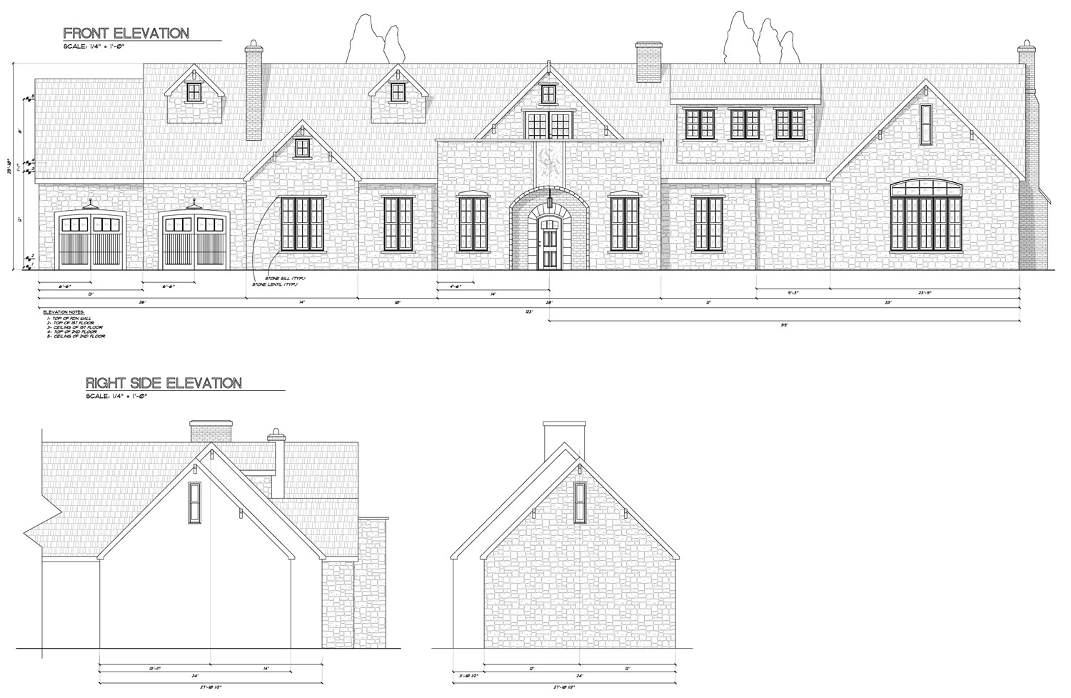 Owens laing llc sample elevation drawing for Sample construction plans